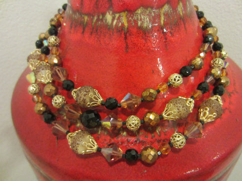 Czech Crystal Three Strands Necklace Encrusted Cabochon Gold Tone Clasp - Designer Unique Finds