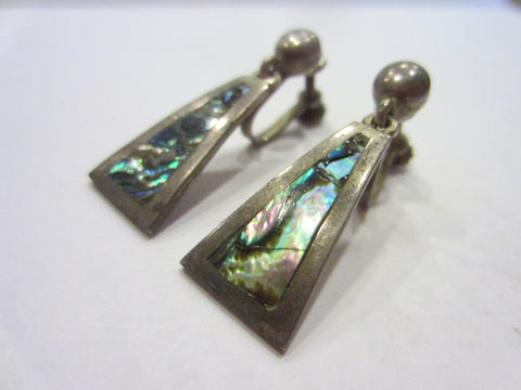 Abalone Screw Back Silver Drop Earrings Marked 925