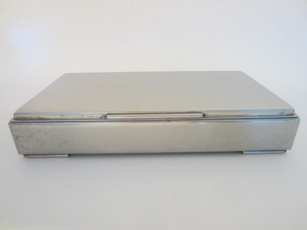 Denmark Silver Metal Rectangle Mid Century Modern Humidor Box