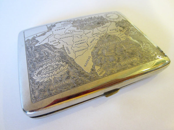 Lotus South Asia Map Decorated Chasing Engraving Silver Case