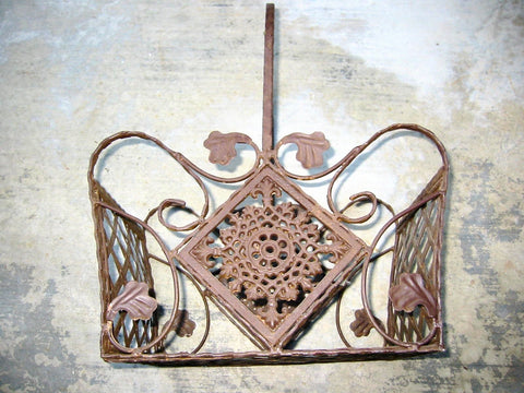 Iron French Basket Pierced Geometric Openwork Floral Medallion - Designer Unique Finds   - 1