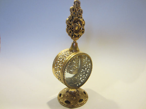 Style Built Rose Top Perfume Bottle Ormolu Brass Beveled Glass