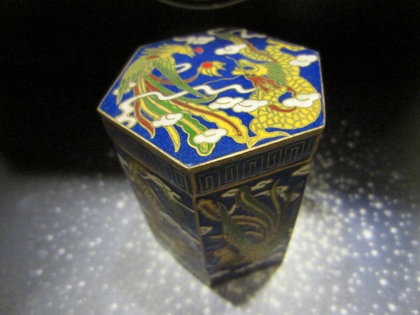 Asian Miniature Cloisonne Hexagon Box Yellow Phoenix Dragons - Designer Unique Finds