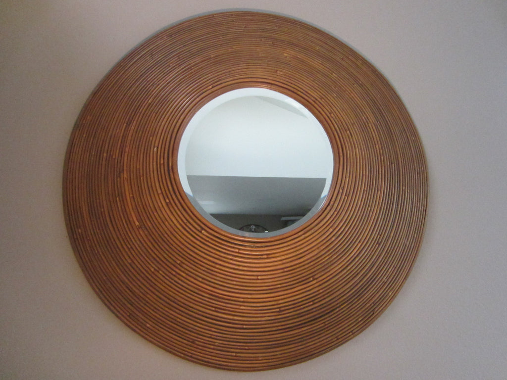 Bamboo Round Mirror By Padmas Tropical Modern Wall Decor - Designer Unique Finds