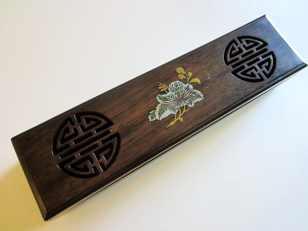 Oriental Celluloid Wood Alike Jewelry Box With Symbols Mother of Pearl Lotus - Designer Unique Finds