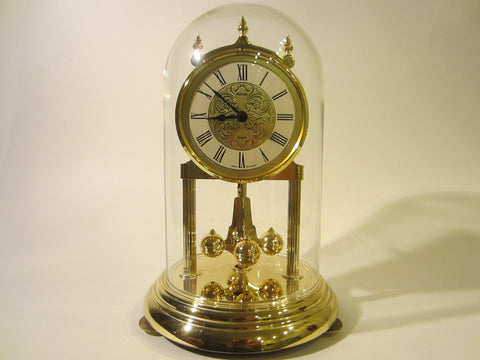 Kundo West Germany Anniversary Mantle Clock Glass Dome Brass Pendulum - Designer Unique Finds