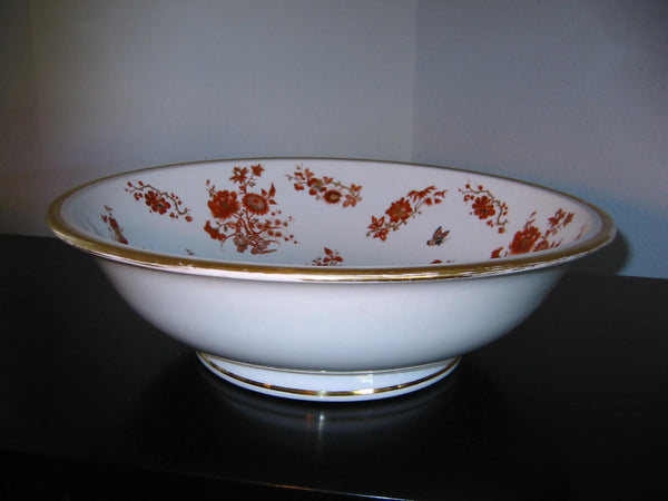 Asian Porcelain Fruit Bowl Hand Decorated Rustic Orange Gold Flowers Butterflies - Designer Unique Finds