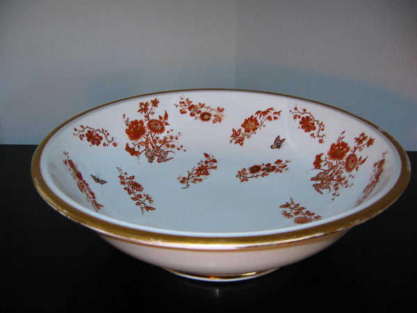 Porcelain Fruit Bowl Decorated Gilt Rustic Orange Painted Flowers Butterflies - Designer Unique Finds   - 1