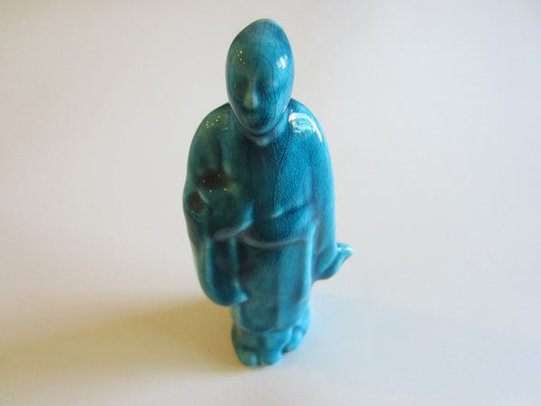 Folk Art Asian Blue Ceramic Standing Buddha Figure - Designer Unique Finds