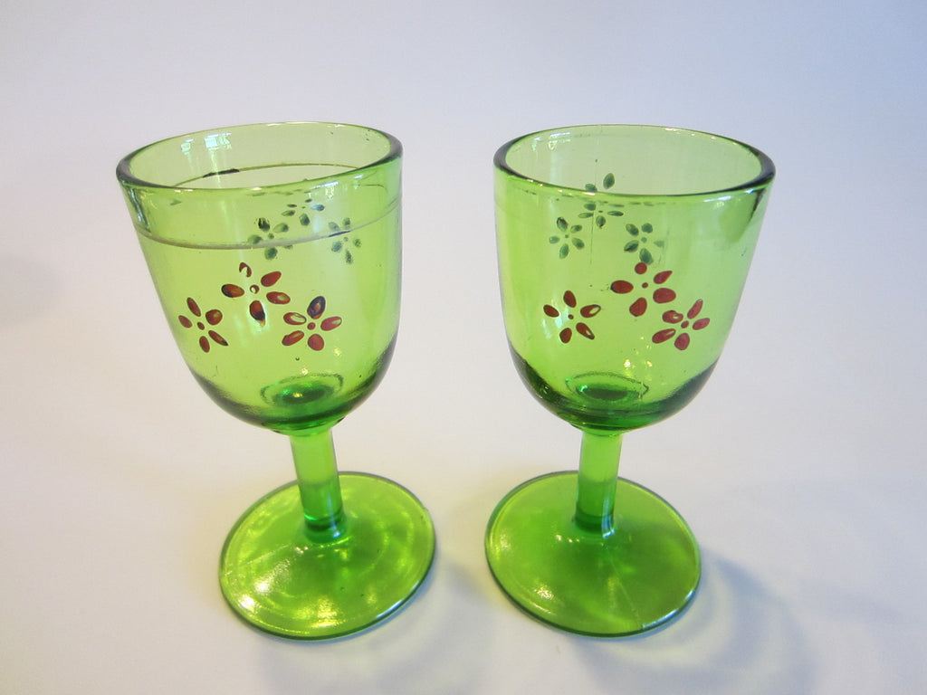 Cordial Green Stemware Pressed Glass Applied Flowers Set