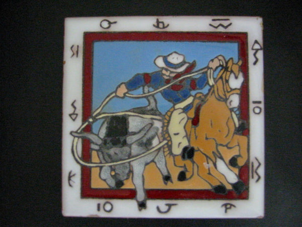 Christine Fitzgerald Western Tile Cowboy Horse By Mag Mor Studio - Designer Unique Finds