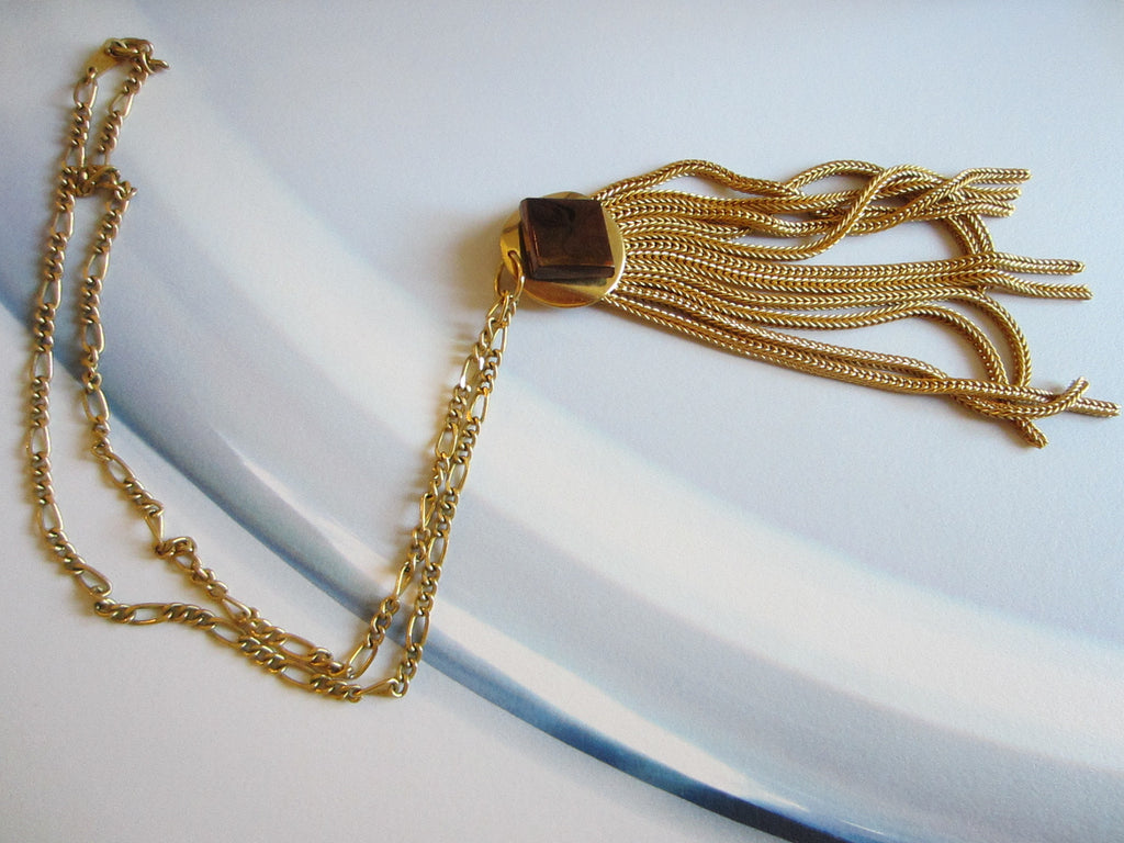 Golden Tassel Pendant Chain Necklace - Designer Unique Finds