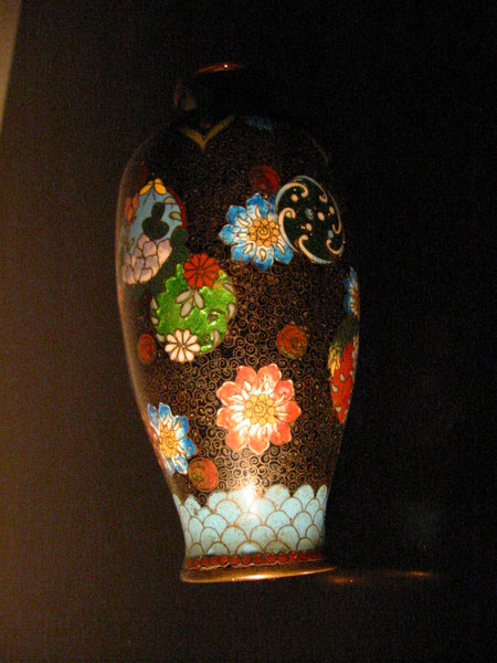 Japanese Black Ginbari Cloisonne Vases Chrysanthemum Flowers Gold Inclusion - Designer Unique Finds