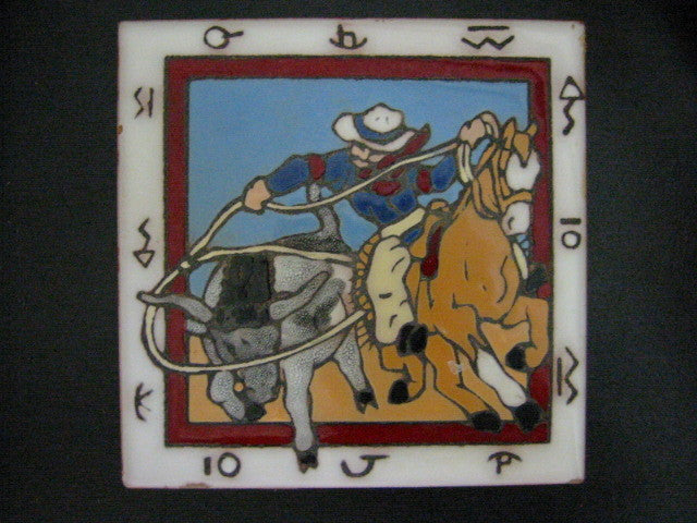 Christine Fitzgerald Designed Tile Western Scene By Mag Mor Studio - Designer Unique Finds   - 1