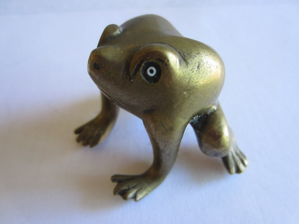 Brass Metal Art Frog Beady Eyes - Designer Unique Finds