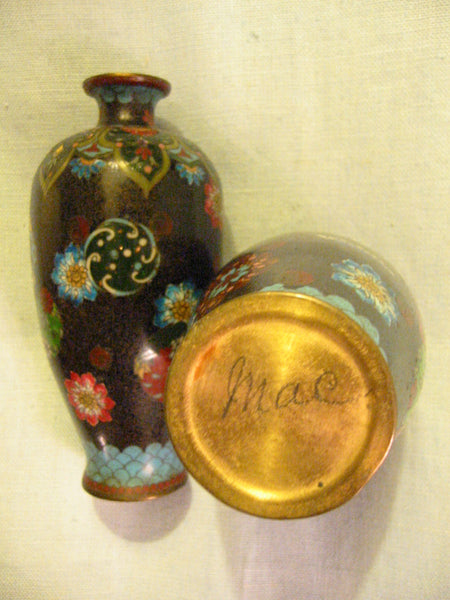 Japanese Black Ginbari Cloisonne Vases Chrysanthemum Gold Inclusion - Designer Unique Finds