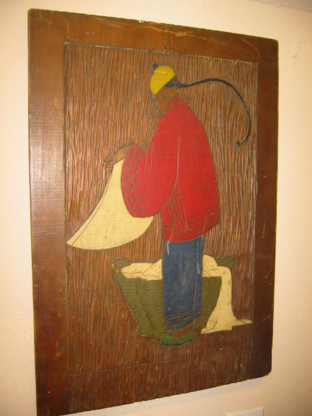Chinese Launder Man Hand Colored Etched Wood Folk Art Wall Decor - Designer Unique Finds   - 2