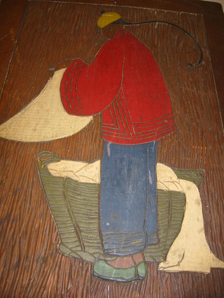 Chinese Launder Man Hand Colored Etched Wood Folk Art Wall Decor - Designer Unique Finds   - 3