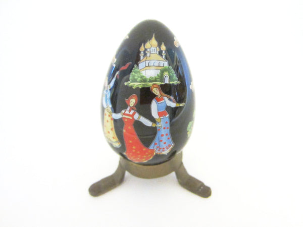 Franklin Mint Black Japanese Porcelain Egg Signed FM 88 With Red Dragon - Designer Unique Finds