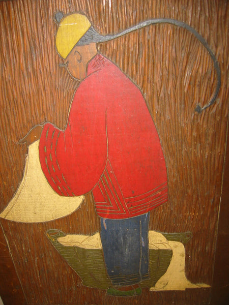 Chinese Launder Man Hand Colored Etched Wood Folk Art Wall Decor - Designer Unique Finds   - 1