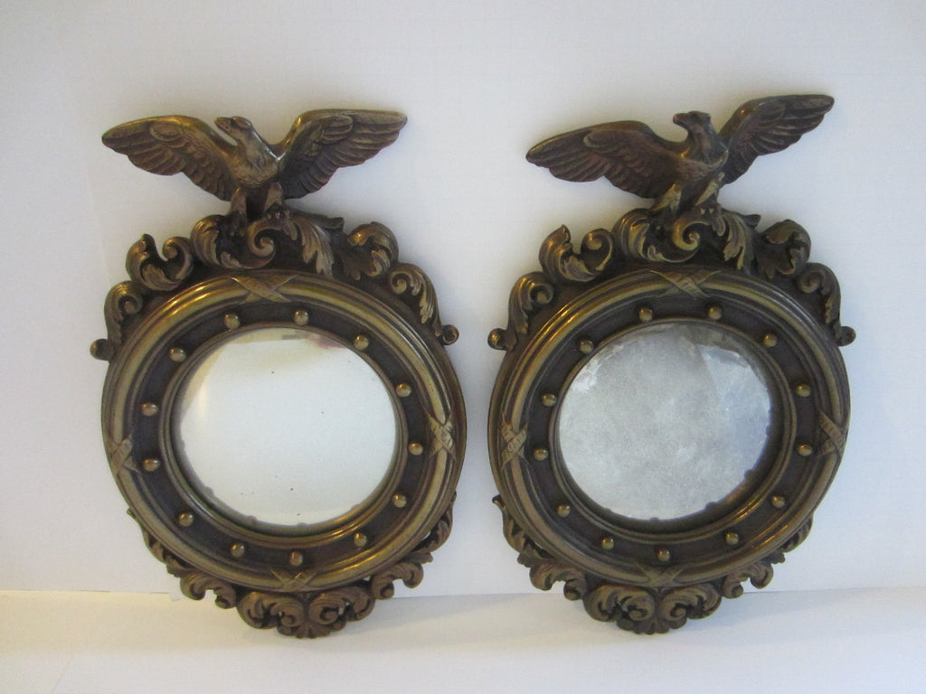 Regency Style Antiqued Gold Eagle Crest Mid Century Modern Convex Mirrors
