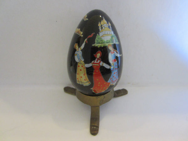 Franklin Mint Black Japanese Porcelain Egg Signed FM 88 With Red Dragon