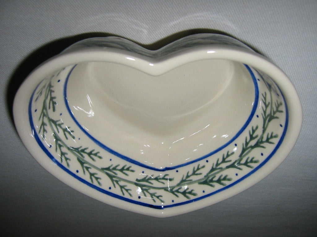 Boleslawiec Polish Stoneware Bowl Heart Shape - Designer Unique Finds