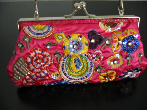Sequined Pink Silk Clutch Designer Purse Hand Made Jeweled Tone - Designer Unique Finds