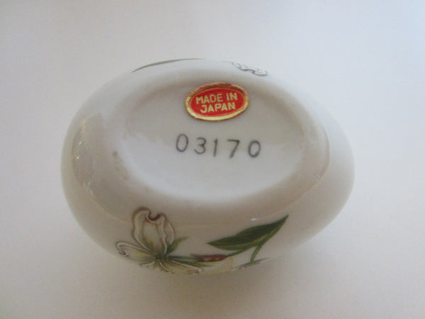 Miniature Egg Porcelain Box Japanese Flower Relief Labeled Numbered - Designer Unique Finds