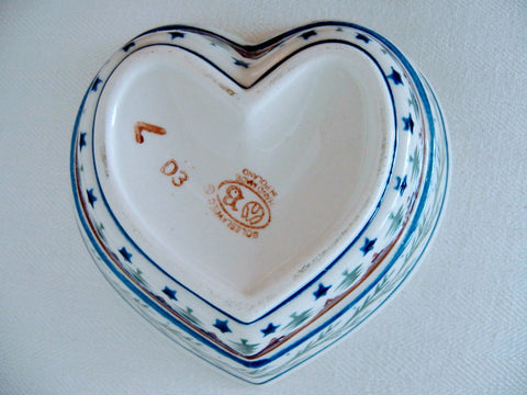 A Boleslawiec Stoneware Heart Shape Bowl Hand Made In Poland