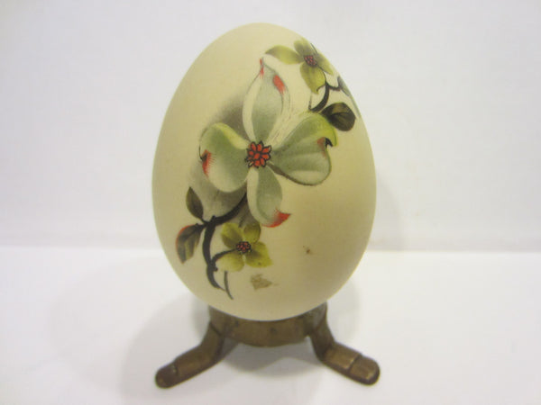 Folk Art Egg Hand Decorated Floral Bisque Paperweight - Designer Unique Finds
