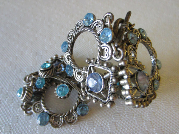 Blue Rhinestones Art Deco Cabochon Bracelet - Designer Unique Finds   - 2
