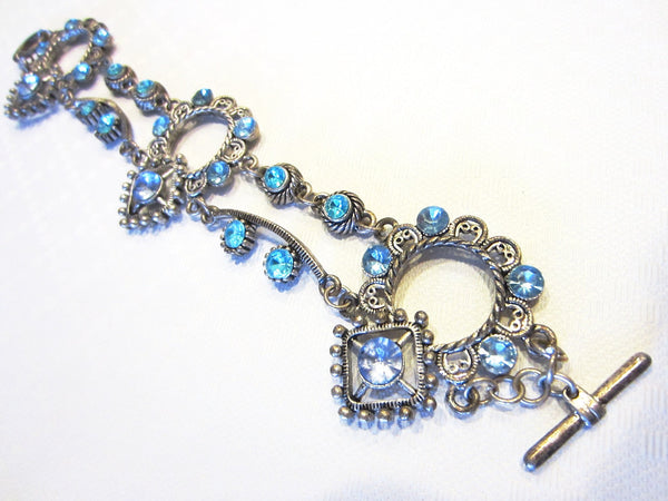 Blue Rhinestones Art Deco Cabochon Bracelet - Designer Unique Finds   - 5