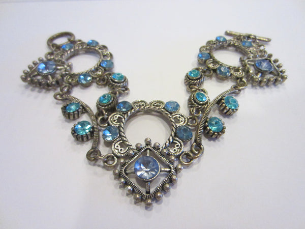 Blue Rhinestones Art Deco Cabochon Bracelet - Designer Unique Finds   - 1