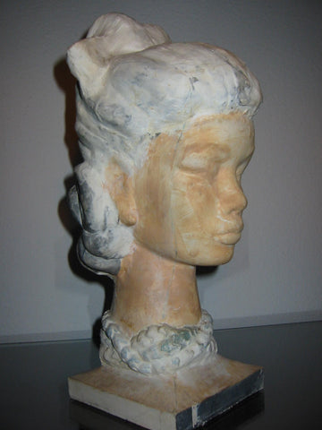 Leonard Scheu Sculpture Chalk Ware Bust Female Portrait - Designer Unique Finds   - 1
