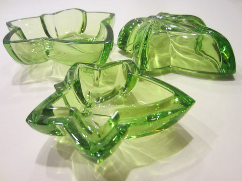 Cristal Sevres France Fleur D Elise Green Bowls Covered Box Glass Art - Designer Unique Finds