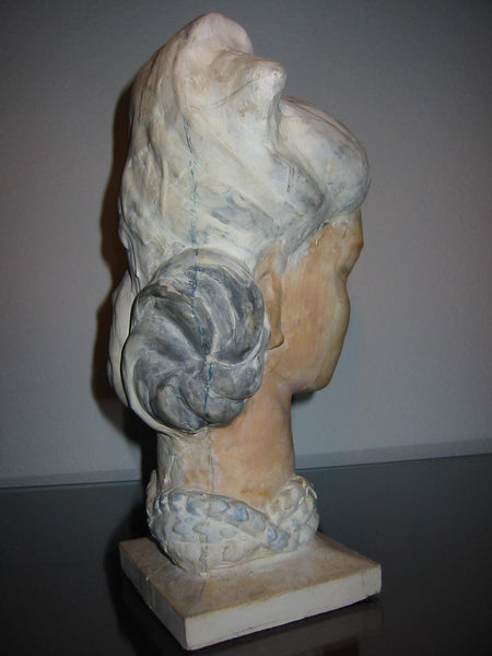 Leonard Scheu Sculpture Chalk Ware Bust Female Portrait - Designer Unique Finds   - 2