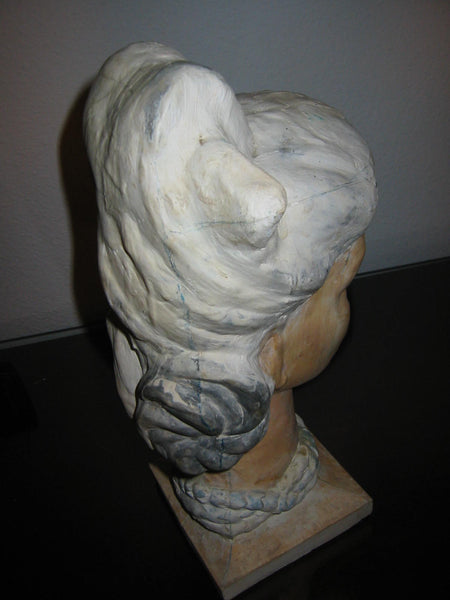 Leonard Scheu Sculpture Chalk Ware Bust Female Portrait - Designer Unique Finds   - 5