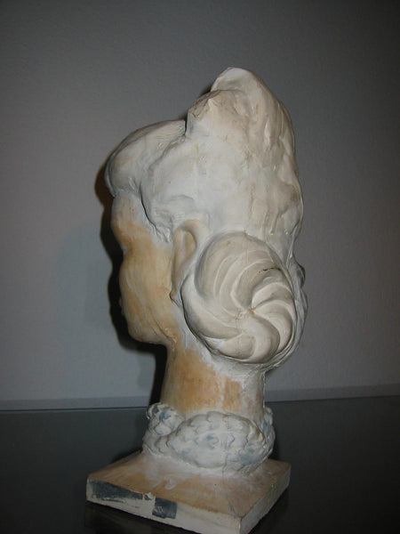Leonard Scheu Sculpture Chalk Ware Bust Female Portrait - Designer Unique Finds   - 6
