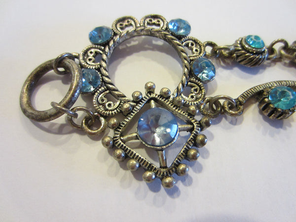 Blue Rhinestones Art Deco Cabochon Bracelet - Designer Unique Finds   - 6