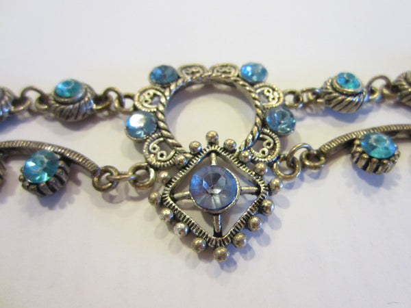 Blue Rhinestones Art Deco Cabochon Bracelet - Designer Unique Finds   - 3