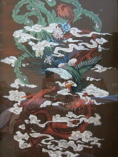 Chinese Reverse Glass Painting Dragon Phoenix Flowers - Designer Unique Finds   - 1