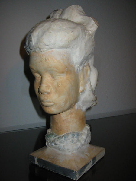 Leonard Scheu Sculpture Chalk Ware Bust Female Portrait - Designer Unique Finds   - 3
