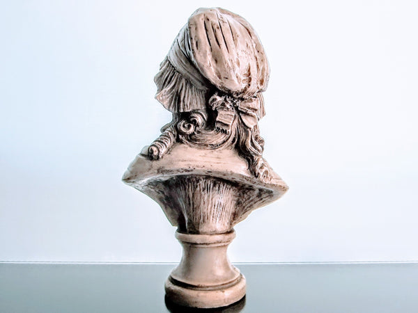 A French Style Girl In Bonnet Composed Sculpture Bust