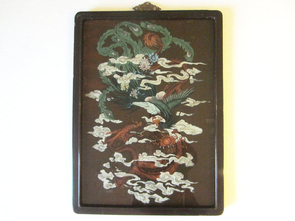 Chinese Reverse Glass Painting Dragon Phoenix Flowers - Designer Unique Finds   - 2