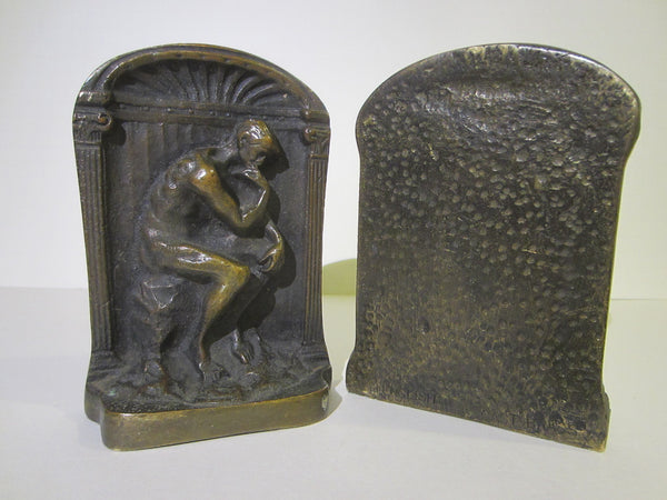Art Deco Old English Cast Brass Figurative Bookends