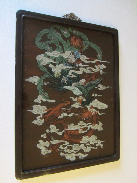 Chinese Reverse Glass Painting Dragon Phoenix Flowers - Designer Unique Finds   - 7