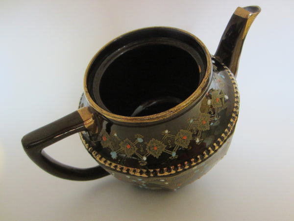 Luster Brown Moriage Ceramic Teapot Gold Plated Colored Beading - Designer Unique Finds