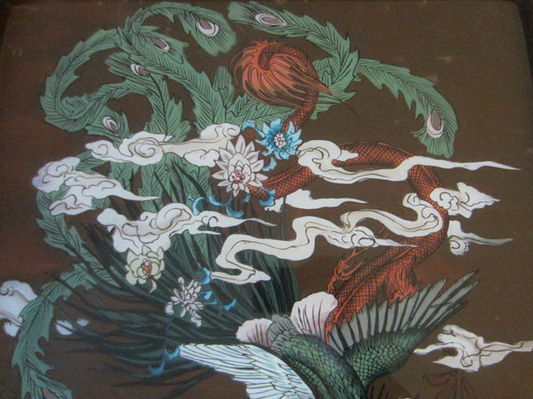 Chinese Reverse Glass Painting Dragon Phoenix Flowers - Designer Unique Finds   - 8