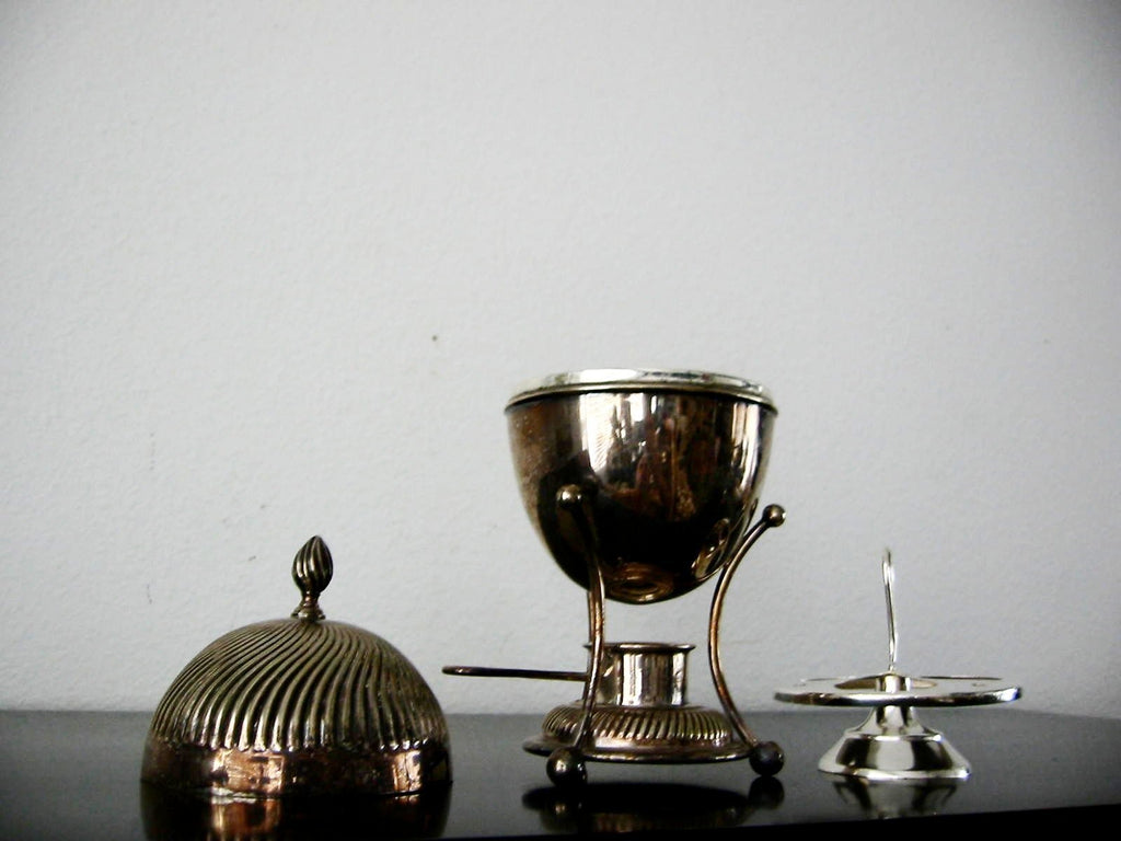Silver Covered Egg Poacher Signed Etched Hallmarks - Designer Unique Finds